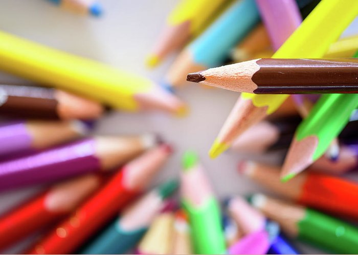 Background Greeting Card featuring the photograph Brown Pencil by Nicola Simeoni