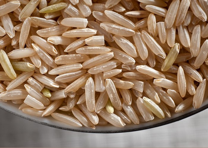 Wild Greeting Card featuring the photograph Brown Rice In Bowl by Steve Gadomski