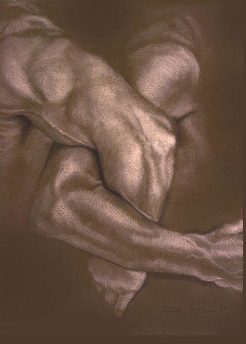 Men Greeting Card featuring the painting Brown Series Vi by John Clum