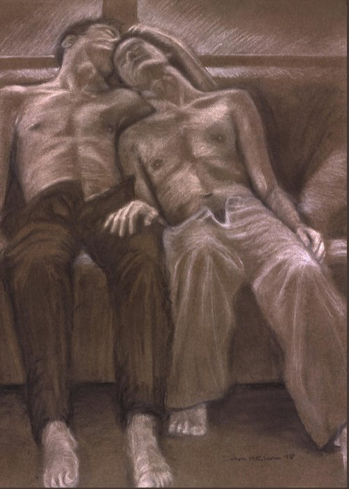 Male Greeting Card featuring the painting Brown Series Xvi by John Clum