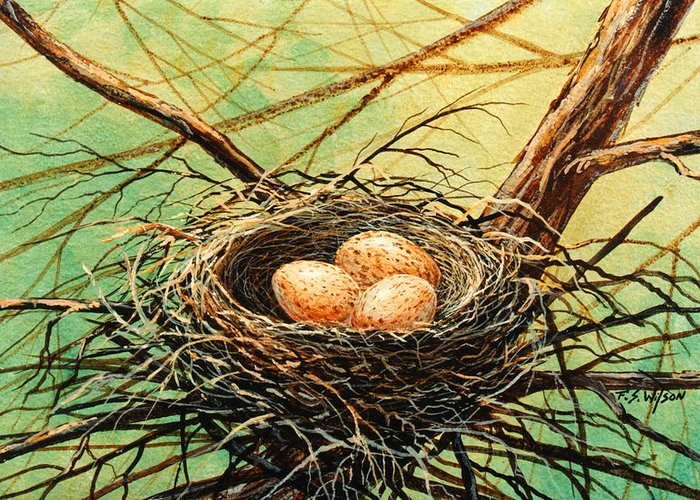 Wildlife Greeting Card featuring the painting Brown Speckled Eggs by Frank Wilson