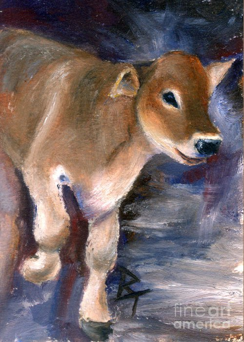 Cow Greeting Card featuring the painting Brown Swiss Calf Aceo by Brenda Thour