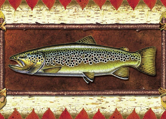 Trout Greeting Card featuring the painting Brown Trout Lodge by JQ Licensing