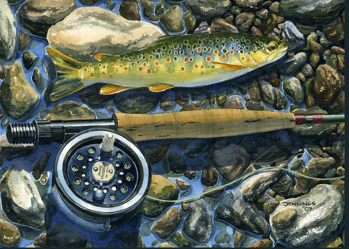 Trout Greeting Card featuring the painting Brown Trout Rush Creek by Mark Jennings