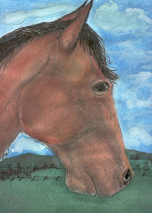 Horse Greeting Card featuring the painting Brown's Home by Pamela Wilson
