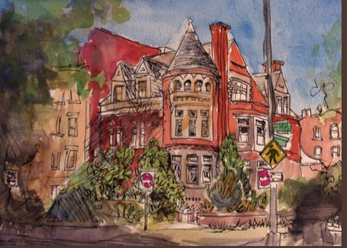 Dc Greeting Card featuring the painting Brownstone On Corcoran Street by Elissa Poma
