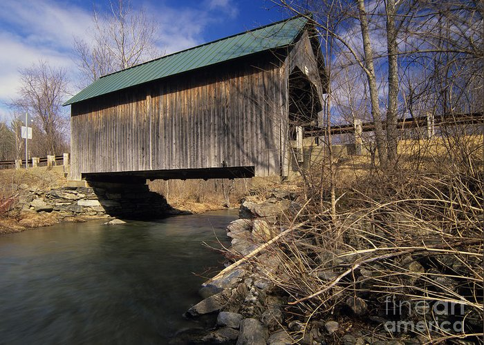 Bridge Greeting Card featuring the photograph Brownsville Covered Bridge - Brownsville Vermont by Erin Paul Donovan