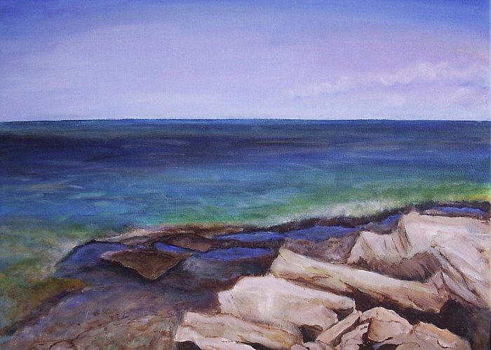 Seascape Greeting Card featuring the painting Bruce Peninsula by Silvia Philippsohn
