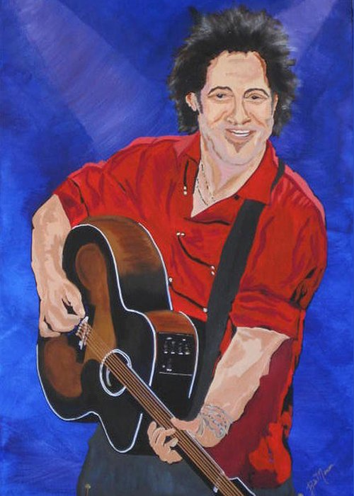 Brice Springsteen Paintings Greeting Card featuring the painting Bruce Springsteen-an American Boy by Bill Manson