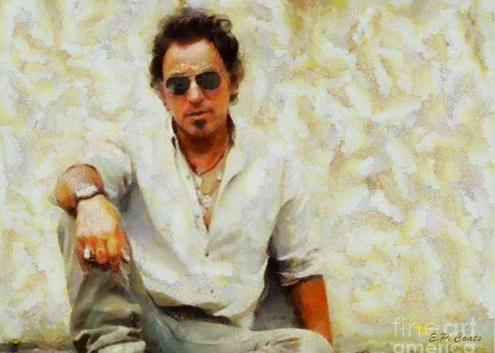Bruce Springsteen Oil Painting Print Bruce Springsteen Painting Bruce Springsteen Framed Prints Musicians Famous People Celebrity Celebrities Prints Greeting Card featuring the painting Bruce Springsteen by Elizabeth Coats