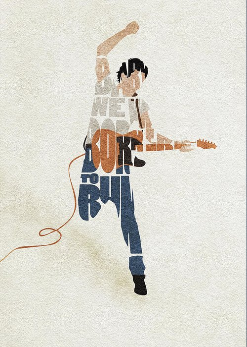 Bruce Springsteen Greeting Card featuring the digital art Bruce Springsteen Typography Art by Inspirowl Design
