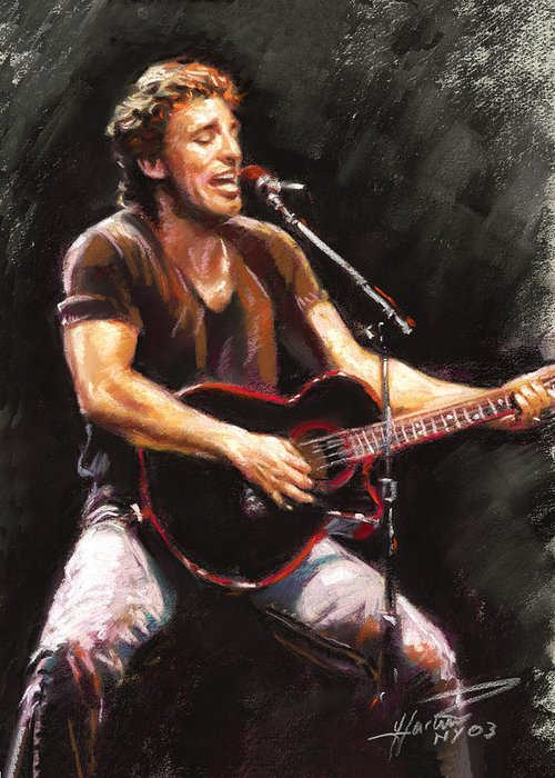 Bruce Springsteen Greeting Card featuring the pastel Bruce Springsteen by Ylli Haruni