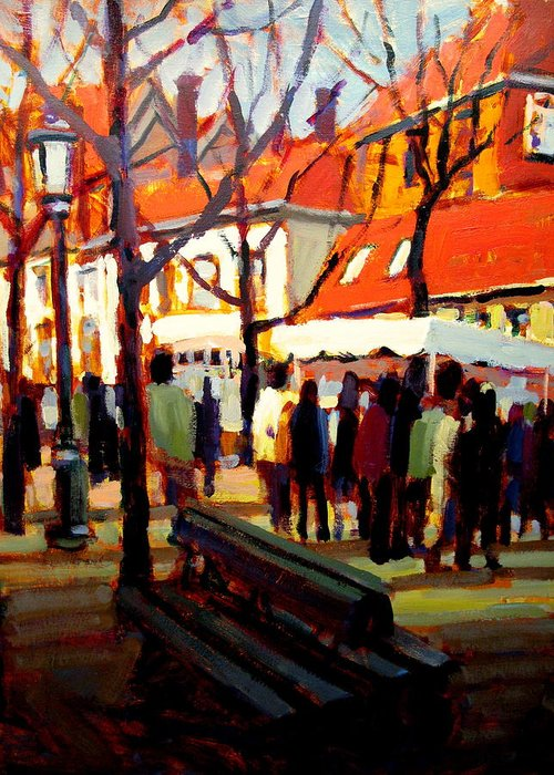 Landscape Paintings Greeting Card featuring the painting Brugg's Market by Brian Simons