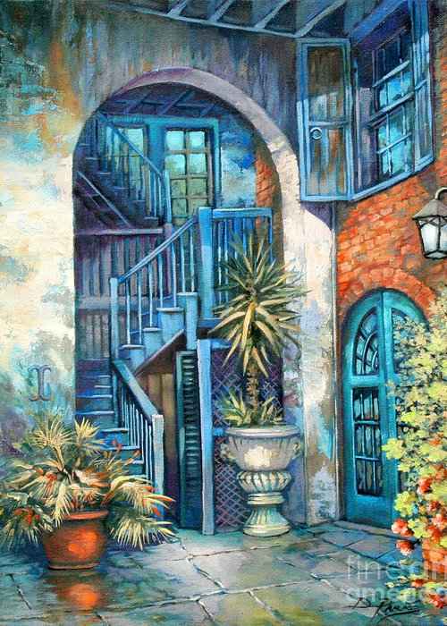 New Orleans Art Greeting Card featuring the painting Brulatour Courtyard by Dianne Parks