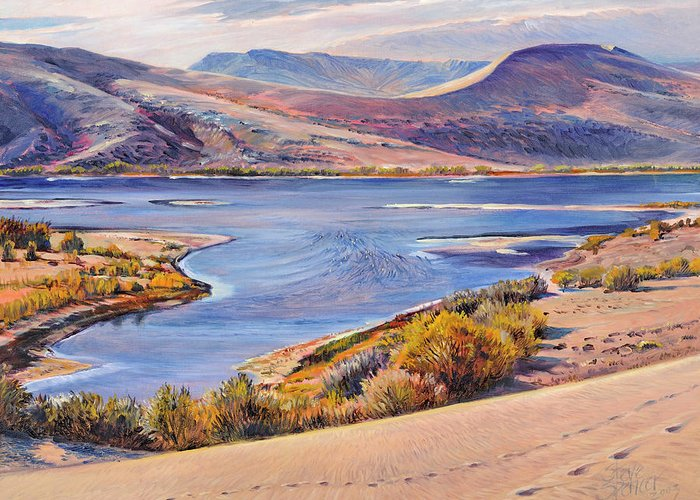 Idaho Desert Sand Dunes Greeting Card featuring the painting Bruneau Sand Dunes by Steve Spencer