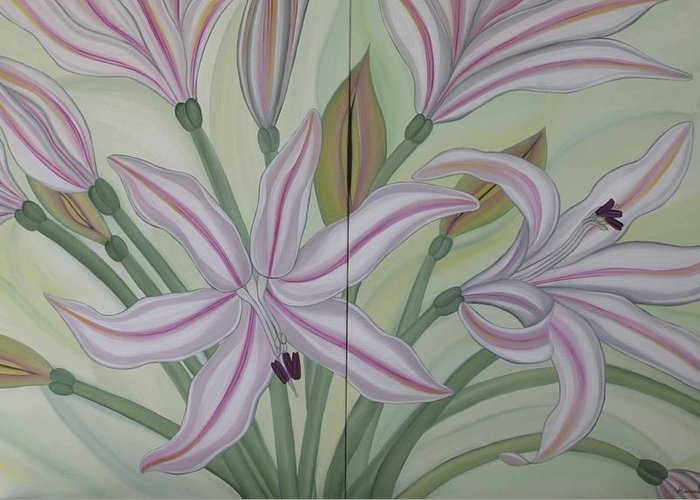 Marinella Owens Greeting Card featuring the painting Brunsvigia Grandiflora by Marinella Owens