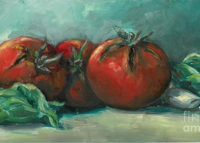 Tomatoes Greeting Card featuring the painting Bruscetta by Linda Vespasian