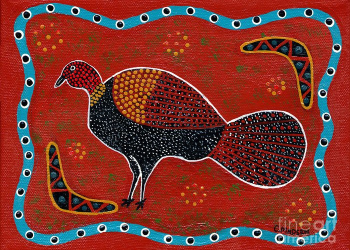 Brushturkey Greeting Card featuring the painting Brush Turkey by Clifford Madsen