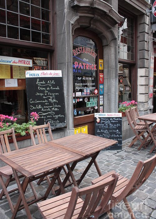 European Cafes Greeting Card featuring the photograph Brussels - Restaurant Chez Patrick by Carol Groenen