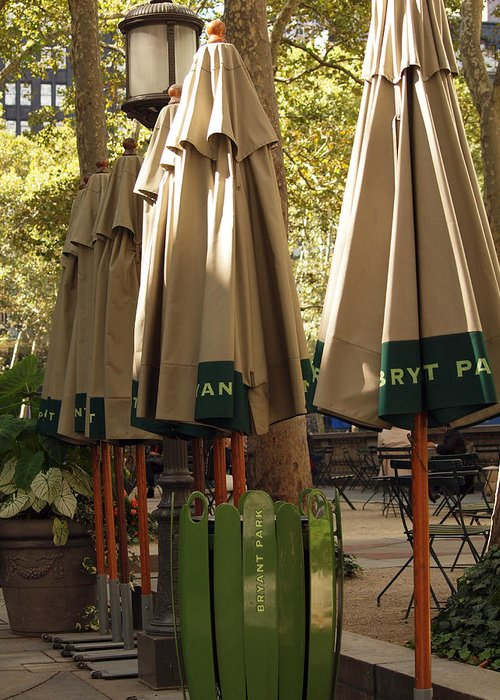 Landscape Greeting Card featuring the photograph Bryant Park by Luis Lugo