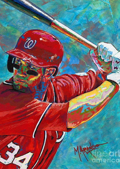 Right Fielder Paintings Greeting Cards