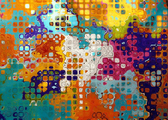Abstract Greeting Card featuring the digital art Bubble Gum Alley I by Ronald Bolokofsky