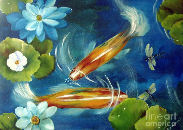Koi Greeting Card featuring the painting Bubble Maker by Carol Sweetwood