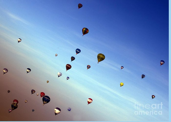 Balloon Fiesta Greeting Card featuring the photograph Bubbles by Angel Ciesniarska