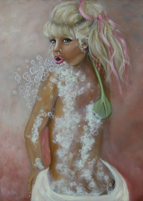 Portrait Greeting Card featuring the painting Bubbles by Joni McPherson
