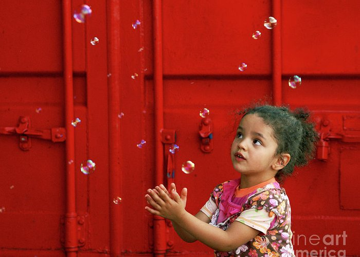 red Canvas Prints Greeting Card featuring the photograph Bubbling Girl by Aimelle