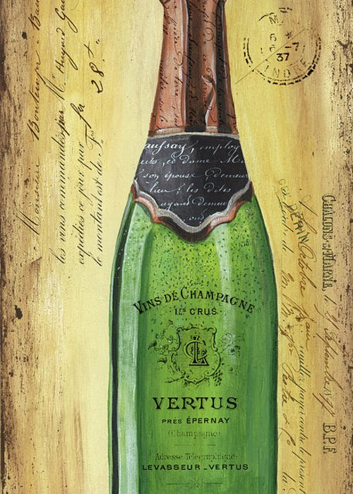 Alcohol Greeting Card featuring the painting Bubbly Champagne 2 by Debbie DeWitt