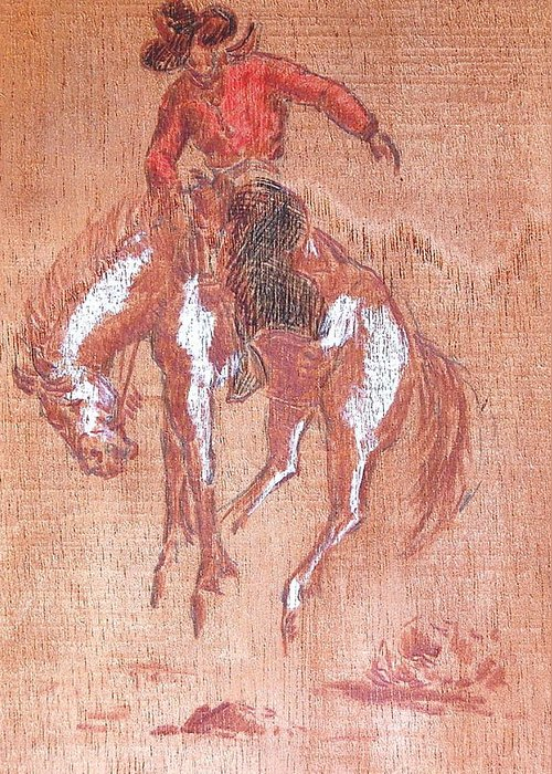 Bronco Greeting Card featuring the painting Bucking Bronco And Rider by Smart Healthy Life