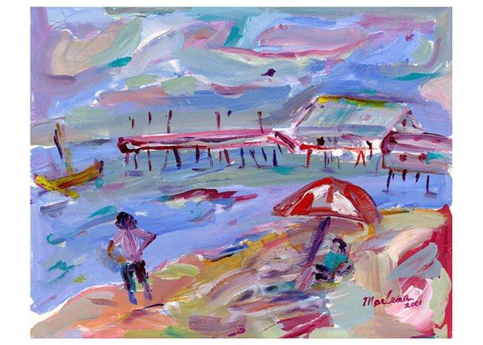 Beach Greeting Card featuring the painting Buckroe Beach by Marlene Robbins