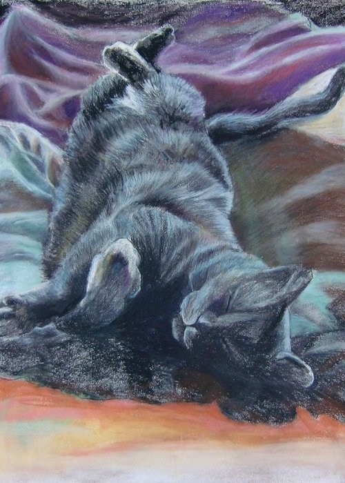 Cat Animals Drawing Greeting Card featuring the drawing Bud by Jean Stark