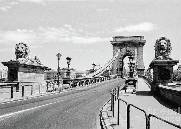 The Chain Bridge Budapest River At Night Black White Photo Poster 18x12