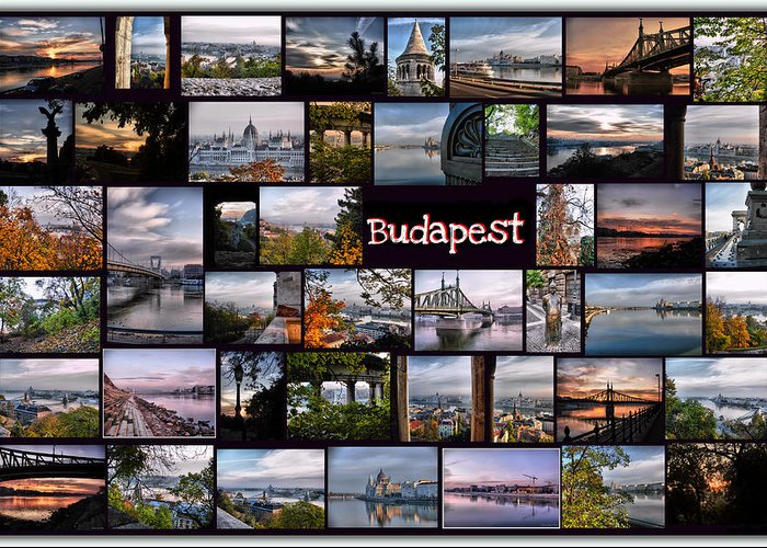 Budapest Greeting Card featuring the pyrography Budapest In October by Janos Kovac
