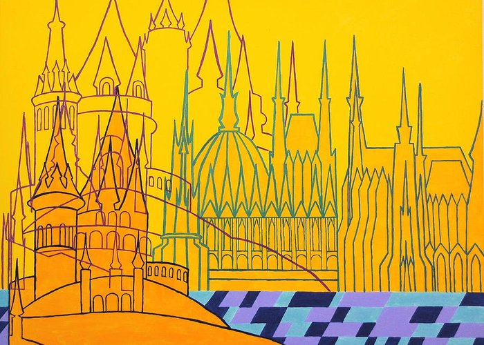 Architecture Greeting Card featuring the painting Budapest by Itala Carla Gasparini