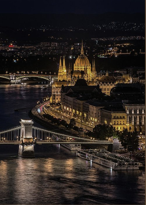Urban Greeting Card featuring the photograph Budapest View At Night by Jaroslaw Blaminsky
