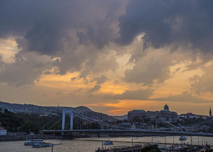 Budapest Greeting Card featuring the photograph Budapest View by Judith Barath
