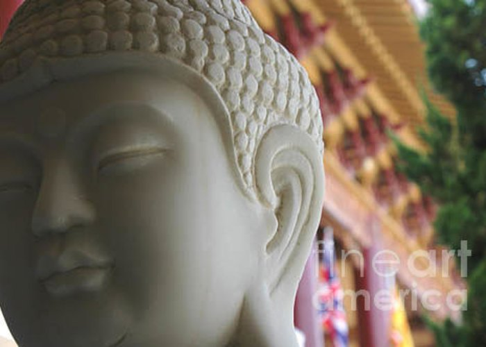 Zen Greeting Card featuring the photograph Buddha At Hsi Lai Temple by Michael Ziegler