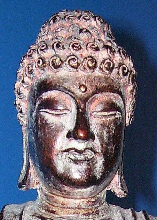 Buddha Greeting Card featuring the photograph Buddha Head 1 by Lindsay Clark