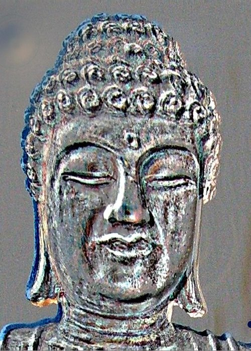 Buddha Greeting Card featuring the photograph Buddha Head 3 by Lindsay Clark