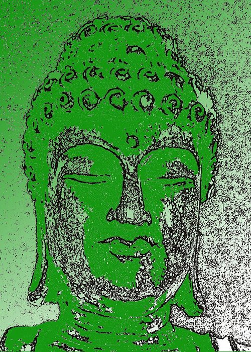 Buddha Greeting Card featuring the photograph Buddha Head 4 by Lindsay Clark