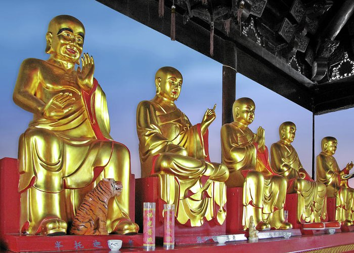 Buddhas Greeting Card featuring the photograph Buddhas Delight - Representations Of Buddhism by Christine Till