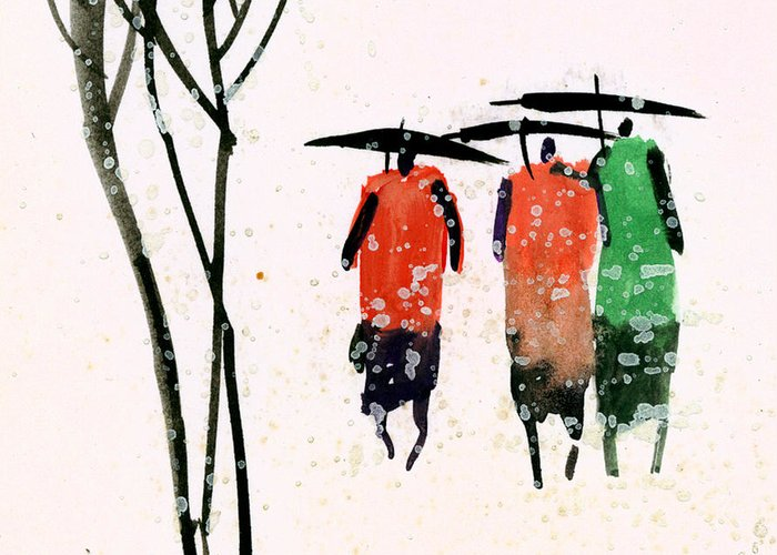 People Greeting Card featuring the painting Buddies 3 by Anil Nene