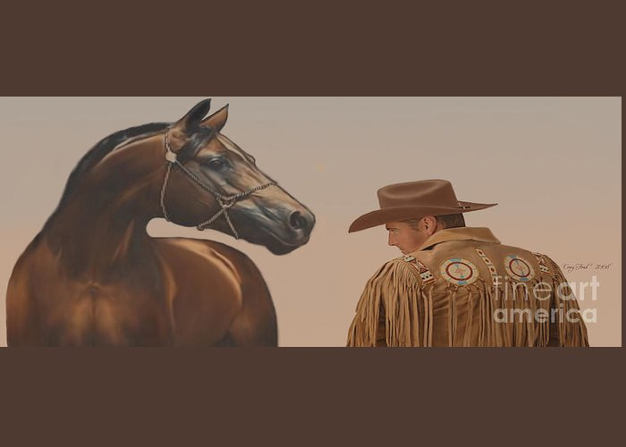 Cowboy Greeting Card featuring the painting Buddies by Corey Ford