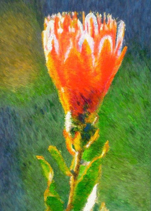 Protea Greeting Card featuring the painting Budding Protea by Michael Durst