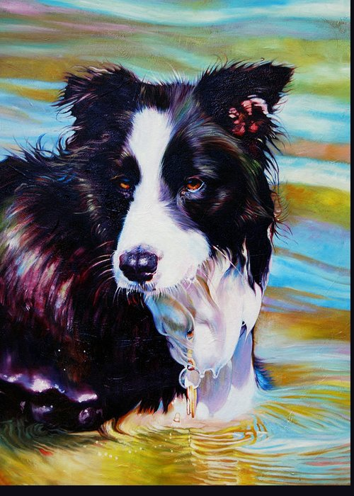 Dogs Greeting Card featuring the painting Buddy Border Collie by Kelly McNeil