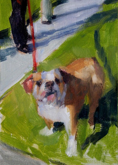 Bulldogs Greeting Card featuring the painting Buddy On A Red Leash by Merle Keller