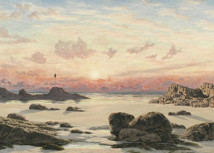 Bude Greeting Card featuring the painting Bude Sands At Sunset by John Brett